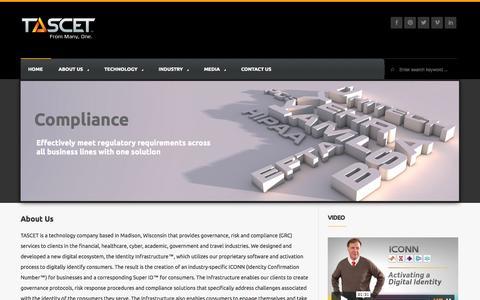 Screenshot of Home Page tascet.com - TASCET | Governance, Risk Response and Compliance - captured Sept. 17, 2014