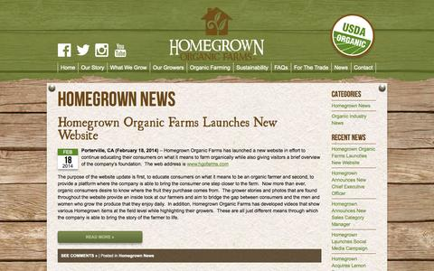 Screenshot of Press Page hgofarms.com - News Archives » Homegrown Organic Farms: Representing Organic Growers of California - captured Oct. 3, 2014