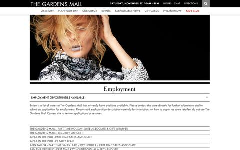 Screenshot of Jobs Page thegardensmall.com - - Employment Opportunities Available - - The Gardens Mall - captured Nov. 18, 2018