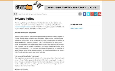 Screenshot of Privacy Page strawdogstudios.com - Privacy Policy - - captured Oct. 7, 2014