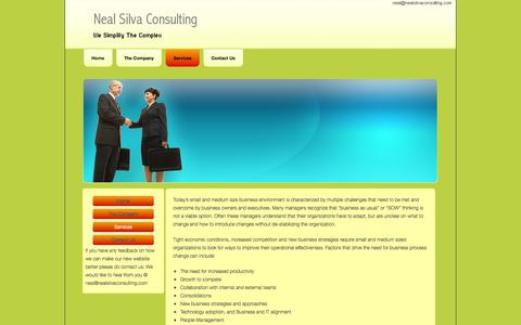 Screenshot of Services Page nealsilvaconsulting.com - Services- Neal Silva Consulting - captured Oct. 9, 2014