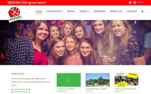 Screenshot of Home Page kroton.nl - KROTON   EEN GROOT TEAM! - captured Oct. 19, 2018