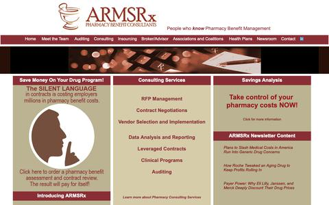 Screenshot of Home Page armsrx.com - ARMSRx Pharmacy Benefit Consulting, Drug plans, Discount Cards, Rx - captured Oct. 2, 2018