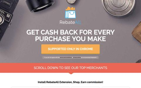 Screenshot of Home Page encrypto.co - RebateAll - Cash Back - Every dollar counts - captured Dec. 9, 2015