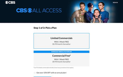 Screenshot of Signup Page cbs.com - CBS All Access Subscription Plans and Pricing - captured Sept. 21, 2018