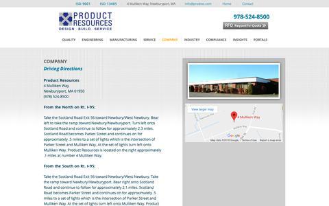 Screenshot of Maps & Directions Page prodres.com - Directions - Product ResourcesProduct Resources - captured Sept. 29, 2018