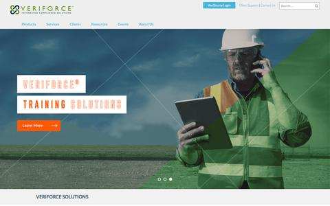 Screenshot of Home Page veriforce.com - Compliance Software for PHMSA OQ, D&A, and OSHA Safety | Veriforce - captured Sept. 3, 2016