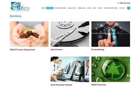 Screenshot of Services Page ereco.co.uk - eReco |   Services - captured Sept. 30, 2018