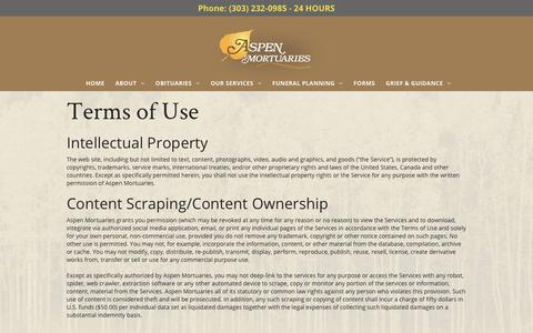 Screenshot of Terms Page aspenmortuaries.com - Terms of Use - captured July 30, 2018