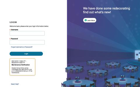 Screenshot of Login Page greatergiving.com - Login to Greater Giving Online - captured Aug. 22, 2019