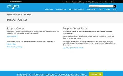 Screenshot of Support Page proquest.com - Support Center - Support Center Landing Page - captured Oct. 10, 2014