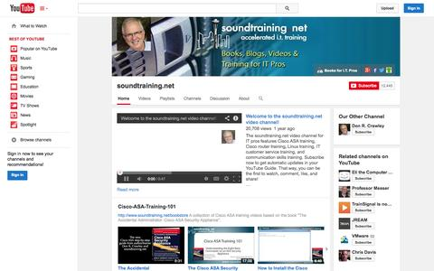 Screenshot of YouTube Page youtube.com - soundtraining.net  - YouTube - captured Oct. 22, 2014