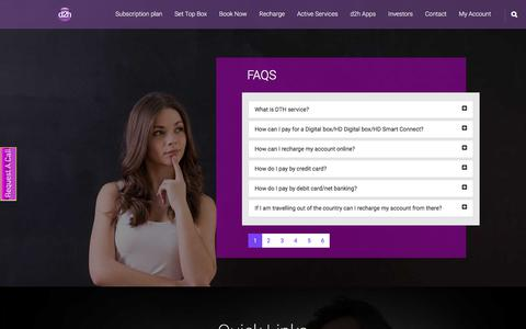 Screenshot of FAQ Page videocond2h.com - Videocon d2h FAQs | Videocon d2h DTH Service India - captured Sept. 21, 2018