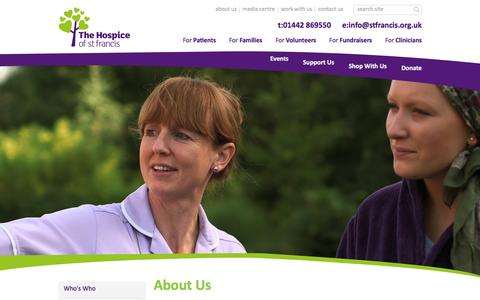 Screenshot of About Page stfrancis.org.uk - About Us | The Hospice of St Francis - captured Feb. 16, 2016
