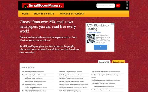 Screenshot of Home Page smalltownpapers.com - Small Town Newspaper-A newspaper directory featuring small town newspapers and articles. - captured Oct. 6, 2014