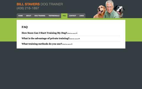 Screenshot of FAQ Page billstavers.com - FAQ about dog training services - captured Oct. 5, 2014