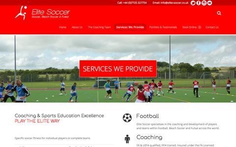 Screenshot of Services Page elite-soccer.co.uk - Services – Elite Soccer - captured July 29, 2017