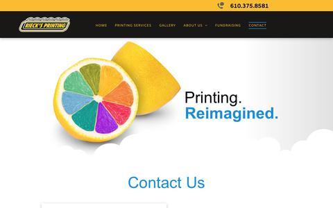 Screenshot of Contact Page riecksprinting.com - Contact Us | Rieck's Printing - captured Oct. 22, 2018