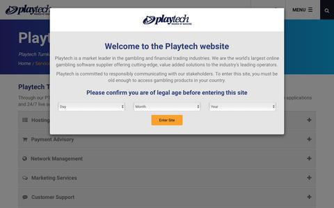 Screenshot of Services Page playtech.com - Playtech Turnkey Services - captured Feb. 3, 2018