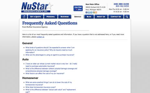 Screenshot of FAQ Page nustarinsurance.net - Frequently Asked Questions | NuStar Insurance Agency in Michigan - captured Oct. 7, 2014