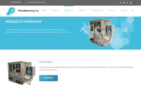 Screenshot of Products Page photomachining.com - Laser Micromachining Products | PhotoMaching, Inc. - captured Dec. 14, 2018