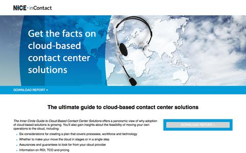 Screenshot of Landing Page niceincontact.com - NICE inContact | Contact Babel Cloud Solutions Report - captured May 12, 2018