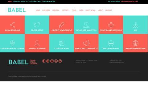 Screenshot of Services Page babelpr.com - Services   Babel - captured July 8, 2016