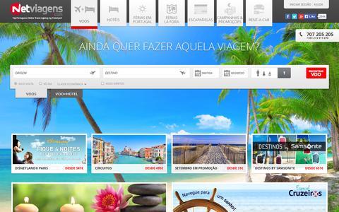 Screenshot of Home Page netviagens.com - Voos, Viagens, Promoções, Hoteis, Escapadelas e Férias. - captured Sept. 19, 2014