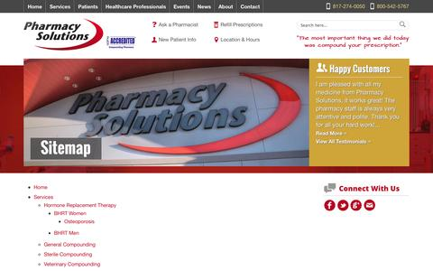 Screenshot of Site Map Page rxcompound.com - Sitemap | Pharmacy Solutions - captured Oct. 2, 2014
