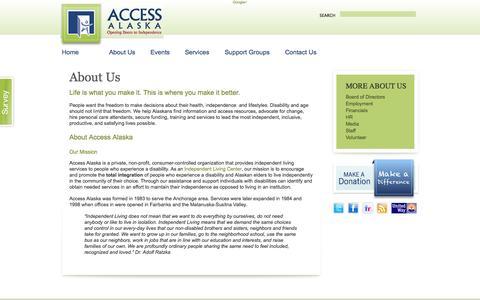 Screenshot of About Page accessalaska.org - About Us   Access Alaska - captured Sept. 30, 2014