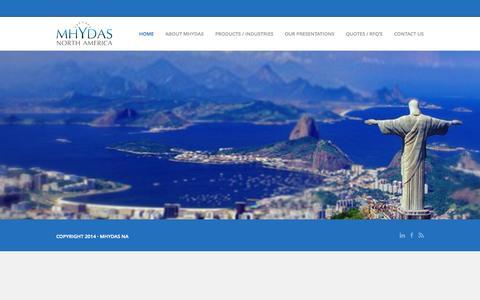 Screenshot of Home Page mhydasnorthamerica.com - Mhydas NA - captured Sept. 30, 2014