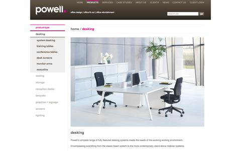 Screenshot of Products Page powell.co.uk - Powell Desking, Desking for Office, Desks, Office Desks, Office Desking, Computer Desking, Computer Desks, Desking Cardiff, Desking Wales, Desking UK, Desks Cardiff, Desks Wales, Desks UK - captured Oct. 2, 2014