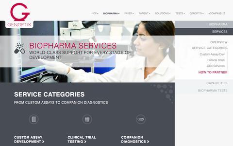 Screenshot of Services Page historx.com - Services   BioPharma   Genoptix Corporate - captured Sept. 13, 2014