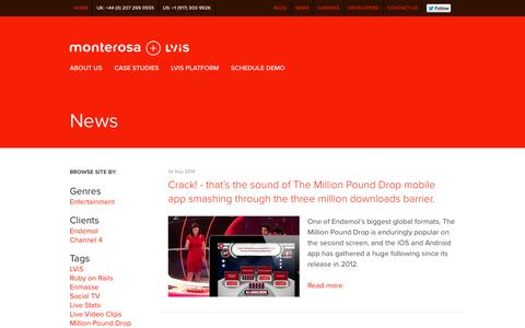 Screenshot of Press Page monterosa.co.uk - Monterosa + LViS / News / Monterosa + LViS - captured Oct. 26, 2014