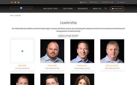 Screenshot of Team Page alertlogic.com - Alert Logic Leadership – Alert Logic Executives | Alert Logic - captured May 7, 2018