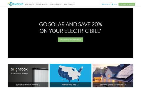Screenshot of Home Page sunrun.com - Leading Home Solar Energy & Solar Panel Company | Sunrun - captured March 22, 2018