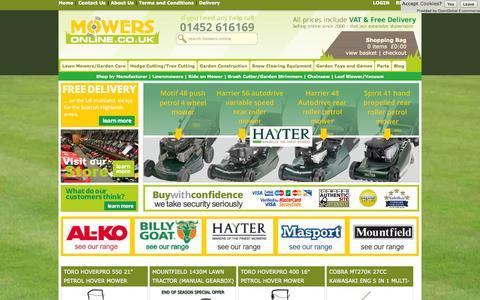 Screenshot of Home Page mowers-online.co.uk - Mowers, Lawnmowers, Lawn Mowers, Garden Machinery from Cheltenham Mowers - captured Sept. 24, 2014
