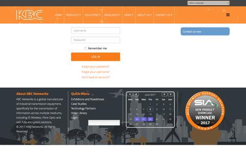 Screenshot of Login Page kbcnetworks.com - Login - captured June 8, 2017
