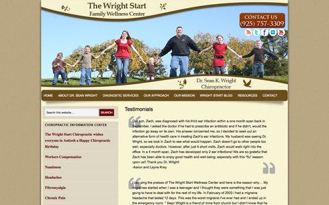 Screenshot of Testimonials Page thewrightstart.com - The Wright Start Family Wellness Center | Antioch CA Chiropractic Services | Wright Start Chiropractic Chiropractor Testimonials in Antioch Ca - captured Oct. 7, 2014