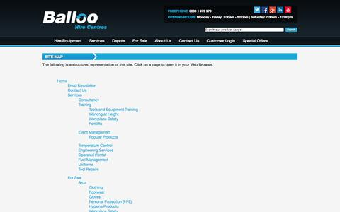 Screenshot of Site Map Page balloohire.com - Site Map - Balloo Hire Centres - captured Oct. 5, 2014