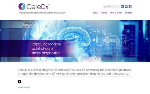 Screenshot of Home Page ceredx.com - Welcome - ceredx.com - captured Dec. 8, 2015