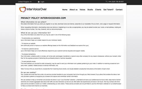 Screenshot of Privacy Page intervoiceover.com - Privacy Policy - Voice agency Inter Voice Over - captured Nov. 28, 2016