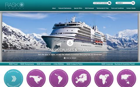 Screenshot of Home Page rasktravel.com - Travel Agency for Luxury Holidays and Business Travel : RASK Travel - captured Jan. 12, 2016