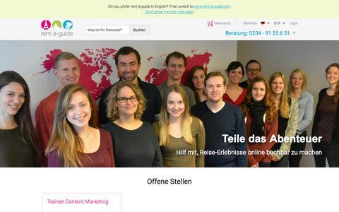 Screenshot of Jobs Page rent-a-guide.de - Jobbörse | rent-a-guide Karriere - captured Sept. 23, 2018