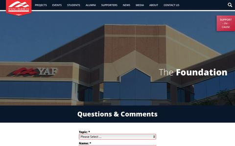 Screenshot of Contact Page yaf.org - Contact Us - Young America's Foundation - captured Nov. 28, 2016