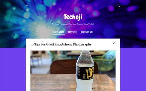 Screenshot of Home Page techoji.com - Techoji - captured Oct. 18, 2018