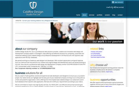 Screenshot of About Page coldfiredesignstudio.com - Web Design Company Chandigarh Punjab India - captured June 29, 2017