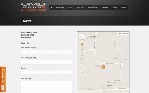 Screenshot of Contact Page ombrange.com - Contact | OMB Guns & Indoor Range - captured Oct. 7, 2014