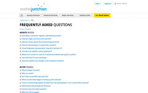 Screenshot of FAQ Page metaljunction.com - Contact Us for queries for any queries and solutions contact us - captured Oct. 30, 2014