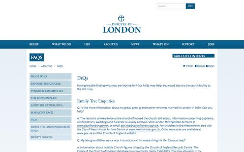 Screenshot of FAQ Page anglican.org - Diocese of London | FAQs - captured Sept. 19, 2014